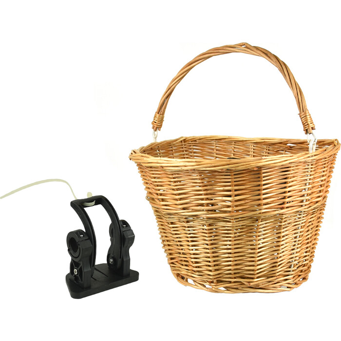 Велокорзина JOY KIE на руль, HT-247 быстросъемная с креплением, лоза плетеная, 34*26*22, ручка для переноски, до 5кг