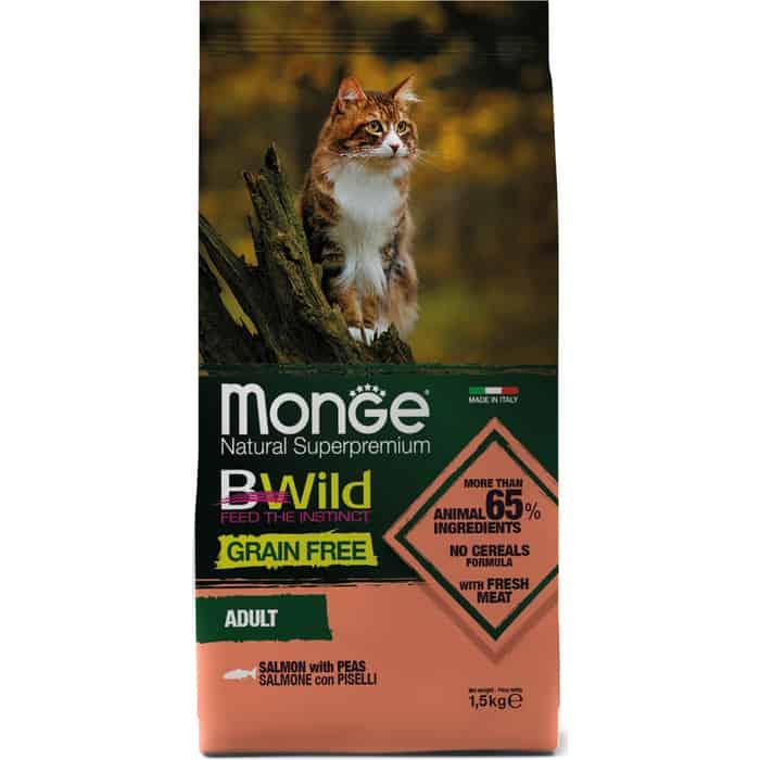 Сухой корм Monge Cat BWild GRAIN FREE беззерновой из лосося для взрослых кошек 1,5 кг