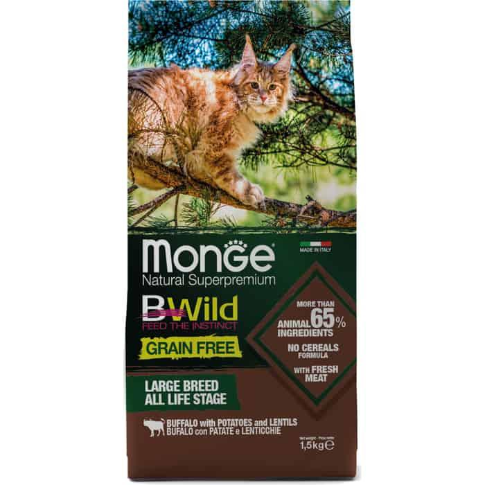 Сухой корм Monge Cat BWild GRAIN FREE беззерновой из мяса буйвола для крупных кошек всех возрастов 1,5 кг
