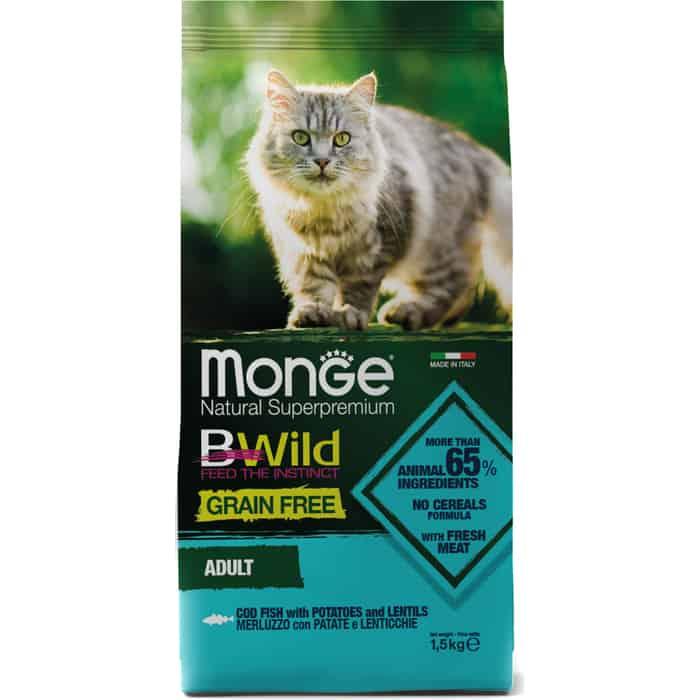 Сухой корм Monge Cat BWild GRAIN FREE беззерновой из трески для взрослых кошек 1,5 кг