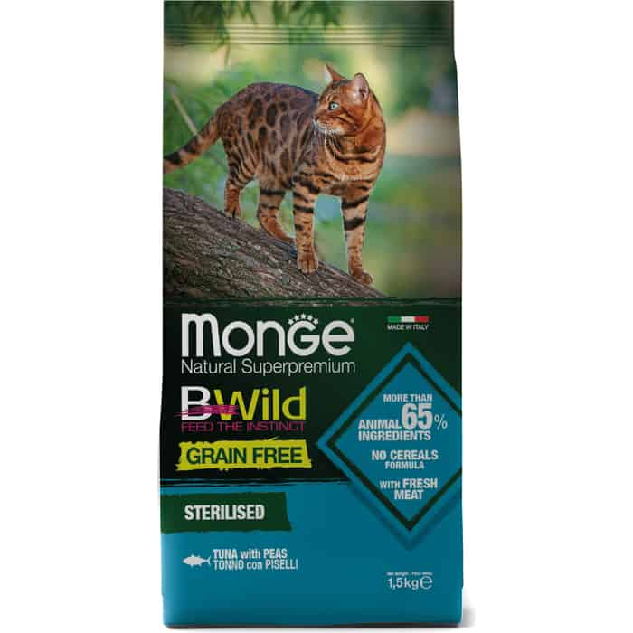 Сухой корм Monge Cat BWild GRAIN FREE беззерновой из тунца для стерилизованных кошек 1,5 кг