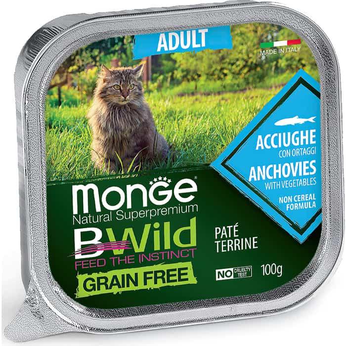 Консервы Monge Cat BWild GRAIN FREE беззерновые из анчоусов с овощами для взрослых кошек 100 г
