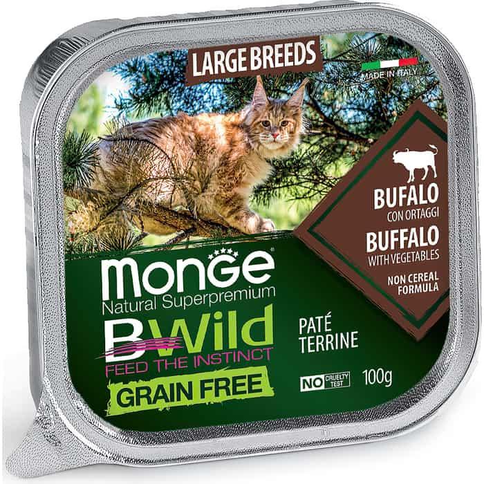 Консервы Monge Cat BWild GRAIN FREE беззерновые из буйвола с овощами для кошек крупных пород 100 г