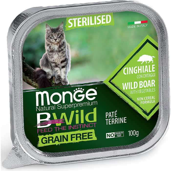 Фото - Консервы Monge Cat BWild GRAIN FREE беззерновые из кабана с овощами для стерилизованных кошек 100 г monge bwild grain free cat беззерновые для взрослых кошек с треской креветками и овощами в соусе 85 гр