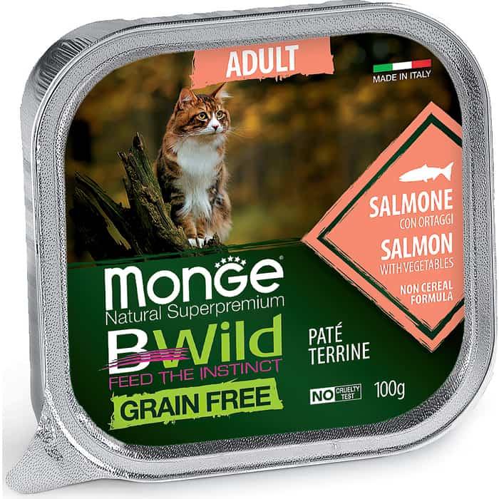 Консервы Monge Cat BWild GRAIN FREE беззерновые из лосося с овощами для взрослых кошек 100 г