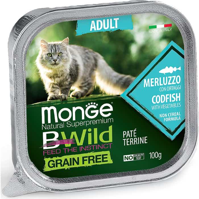 Консервы Monge Cat BWild GRAIN FREE беззерновые из трески с овощами для взрослых кошек 100 г