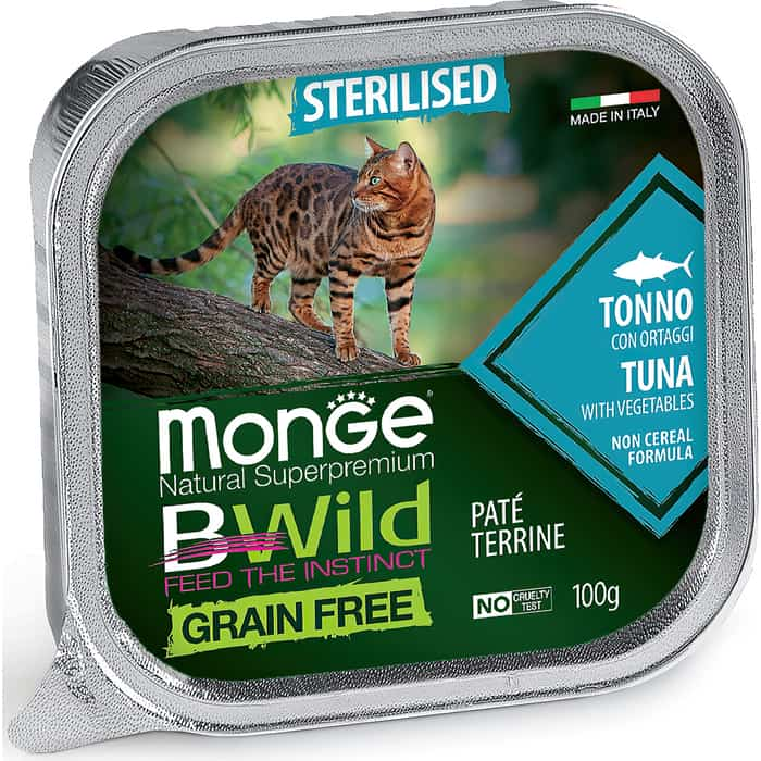 Консервы Monge Cat BWild GRAIN FREE беззерновые из тунца с овощами для стерилизованных кошек 100 г