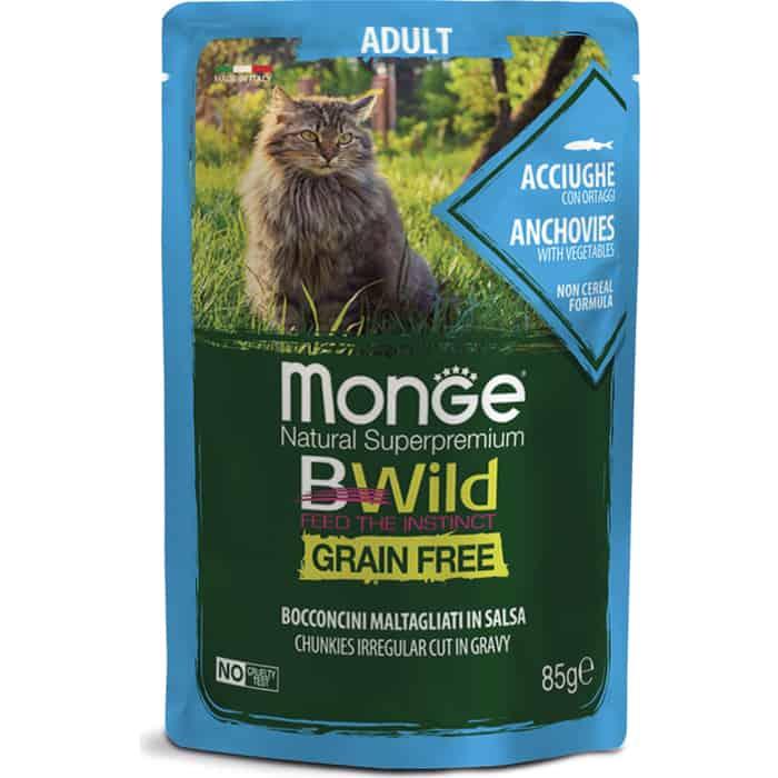 Фото - Паучи Monge Cat BWild GRAIN FREE из анчоусов с овощами для взрослых кошек 85 г monge bwild grain free cat беззерновые для взрослых кошек с треской креветками и овощами в соусе 85 гр