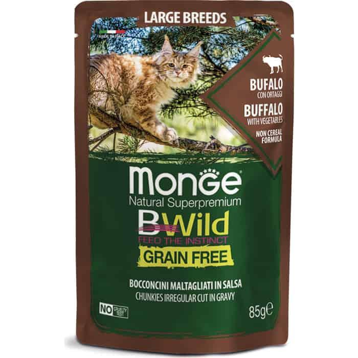 Фото - Паучи Monge Cat BWild GRAIN FREE из мяса буйвола с овощами для кошек крупных пород 85 г monge bwild grain free cat беззерновые для взрослых кошек с треской креветками и овощами в соусе 85 гр