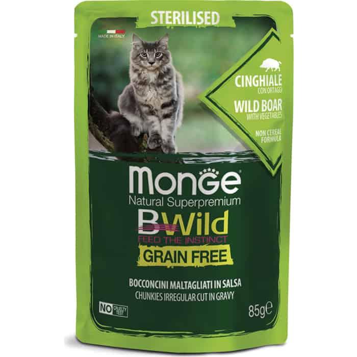 Фото - Паучи Monge Cat BWild GRAIN FREE из мяса дикого кабана с овощами для стерилизованных кошек 85 г monge bwild grain free cat беззерновые для взрослых кошек с треской креветками и овощами в соусе 85 гр