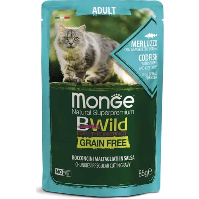 Фото - Паучи Monge Cat BWild GRAIN FREE из трески с креветками и овощами для взрослых кошек 85 г monge bwild grain free cat беззерновые для взрослых кошек с треской креветками и овощами в соусе 85 гр