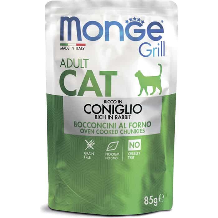 Паучи Monge Cat Grill Pouch для взрослых кошек итальянский кролик 85 г