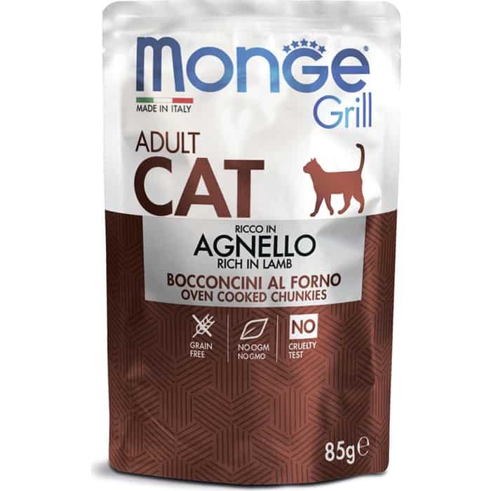 Паучи Monge Cat Grill Pouch для взрослых кошек новозеландский ягненок 85 г