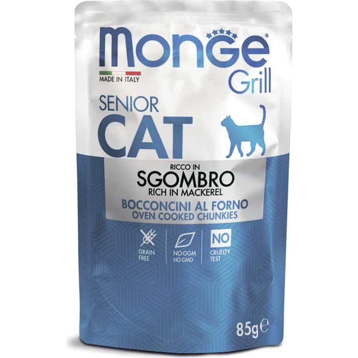 Паучи Monge Cat Grill Pouch для пожилых кошек эквадорская макрель 85 г
