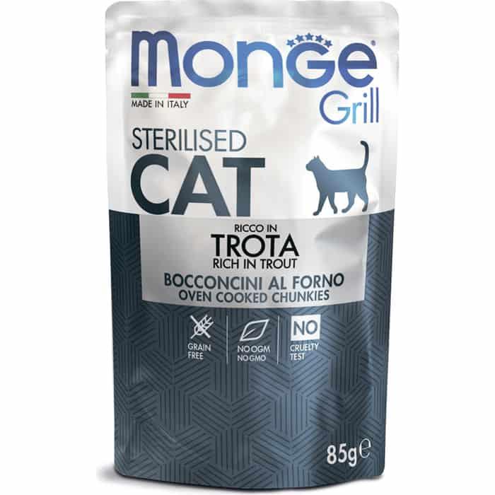 Паучи Monge Cat Grill Pouch для стерилизованных кошек итальянская форель 85 г
