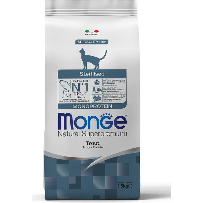 Сухой корм Monge Cat Monoprotein Sterilised Trout для стерилизованных кошек с форелью 1,5 кг