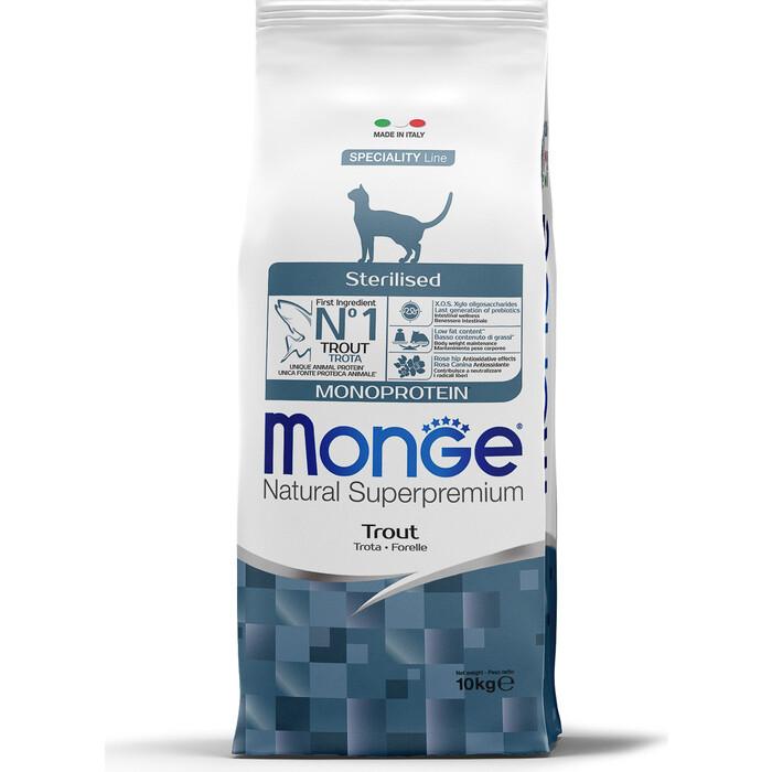 Сухой корм Monge Cat Monoprotein Sterilised для стерилизованных кошек с форелью 10 кг