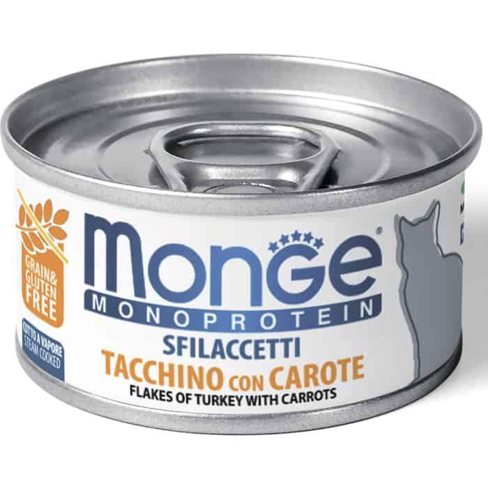 Консервы Monge Cat Monoprotein мясные хлопья для кошек из индейки с морковью 80 г