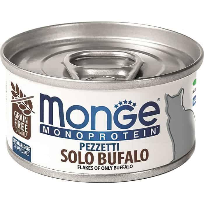 Консервы Monge Cat Monoprotein мясные хлопья для кошек из мяса буйвола 80 г