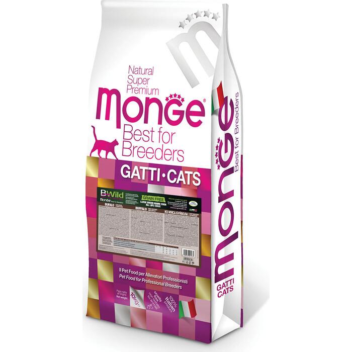 Сухой корм Monge PFB Cat BWild GRAIN FREE беззерновой из мяса буйвола для крупных кошек всех возрастов 10 кг