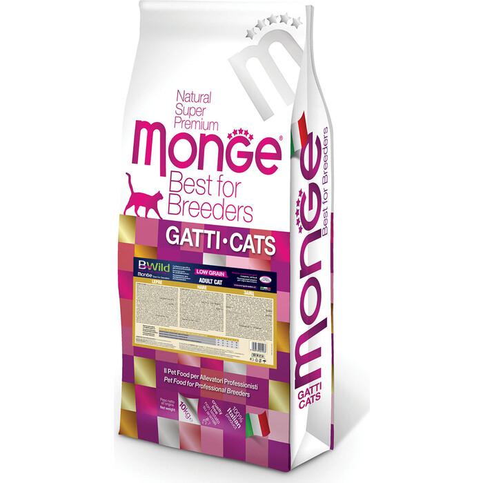 Сухой корм Monge PFB Cat BWild LOW GRAIN низкозерновой из мяса зайца для взрослых кошек 10 кг