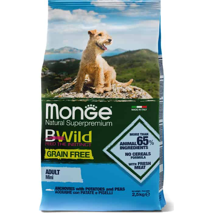 Сухой корм Monge Dog BWild GRAIN FREE Mini беззерновой из анчоуса с картофелем для взрослых собак мелких пород 2,5 кг