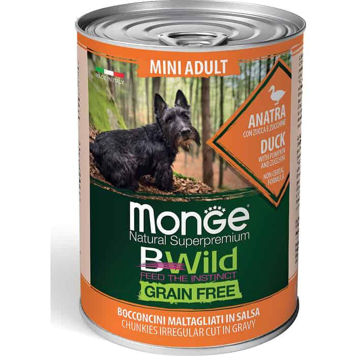 Консервы Monge Dog BWild GRAIN FREE Mini беззерновые из утки с тыквой и кабачками для взрослых собак мелких пород 400 г