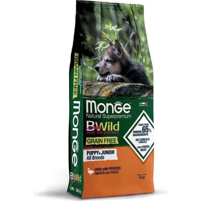 Сухой корм Monge Dog BWild GRAIN FREE Puppy&Junior беззерновой из мяса утки с картофелем для щенков всех пород 12 кг