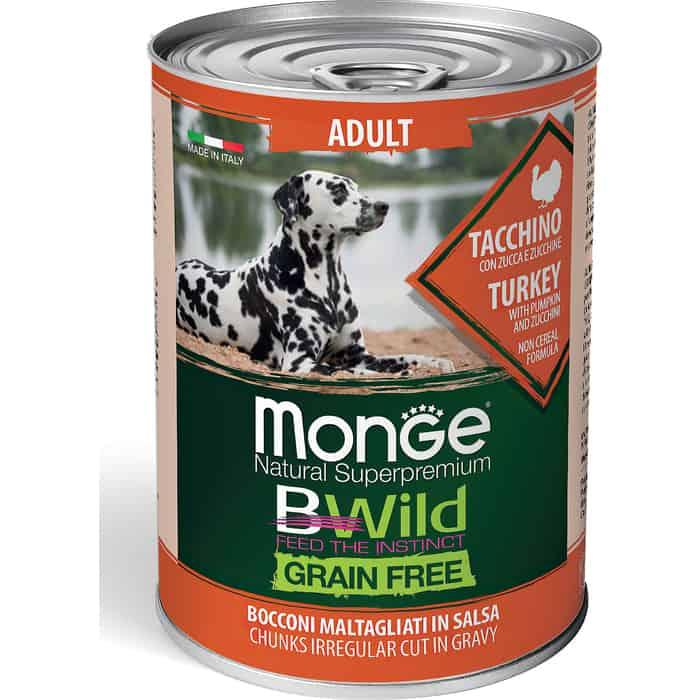 Консервы Monge Dog BWild GRAIN FREE беззерновые из индейки с тыквой и кабачками для взрослых собак всех пород 400 г