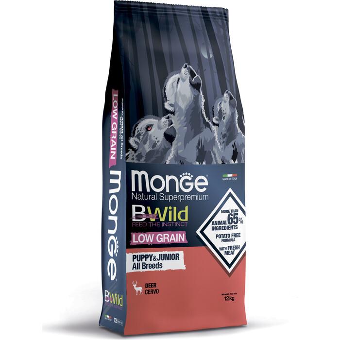 Сухой корм Monge Dog BWild LOW GRAIN Puppy & junior низкозерновой из мяса оленя для щенков всех пород 12 кг
