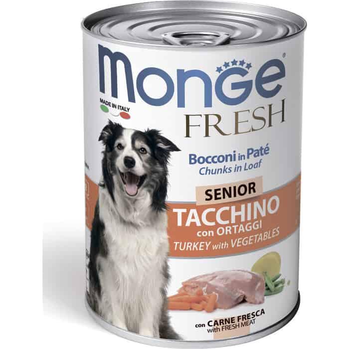 Консервы Monge Dog Fresh Chunks in Loaf для пожилых собак мясной рулет индейка с овощами 400 г