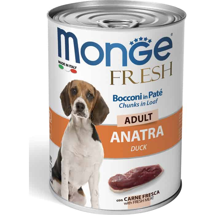 Консервы Monge Dog Fresh Chunks in Loaf для собак мясной рулет из утки 400 г