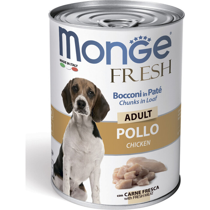Консервы Monge Dog Fresh Chunks in Loaf для собак мясной рулет курица 400 г