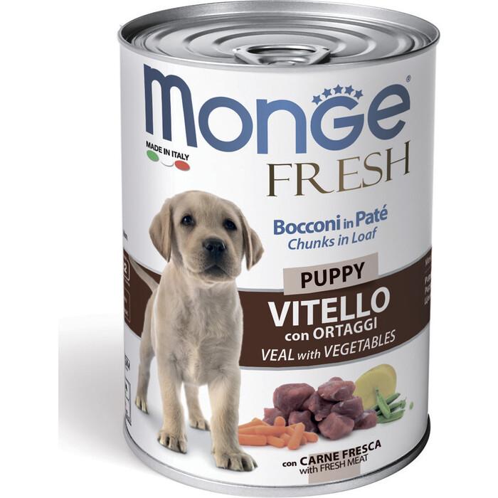 Консервы Monge Dog Fresh Chunks in Loaf для щенков мясной рулет телятина с овощами 400 г