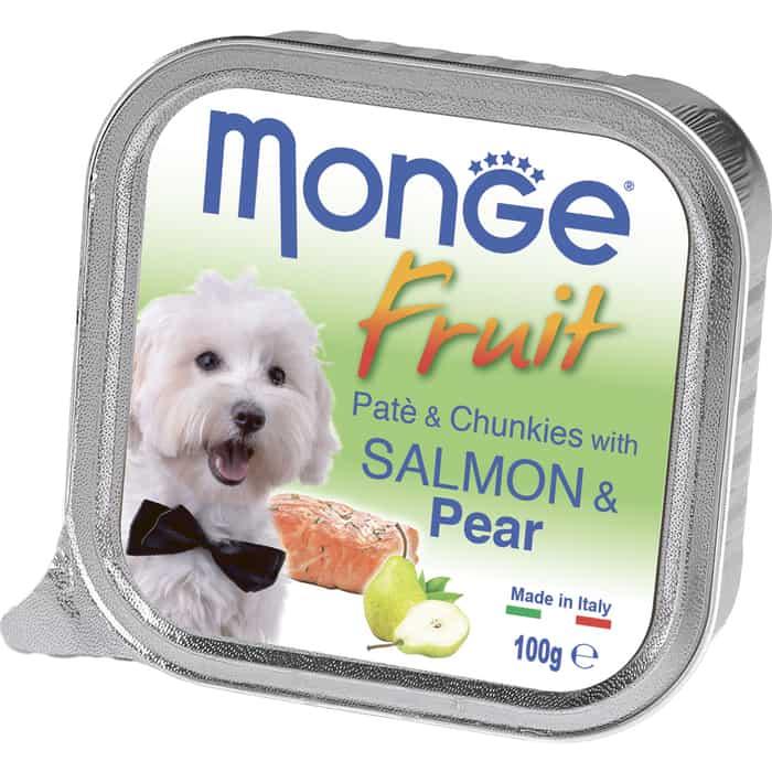 Консервы Monge Dog Fruit для собак лосось с грушей 100 г