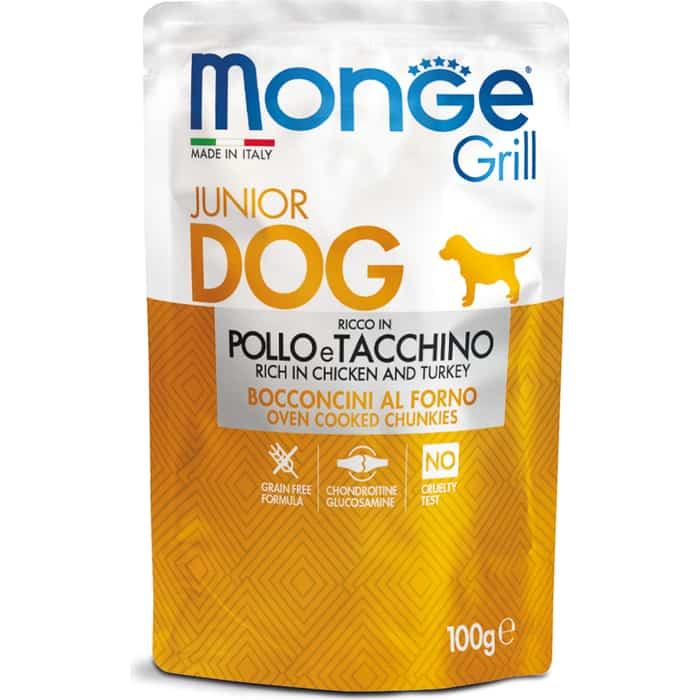 Паучи Monge Dog Grill PUPPY&JUNIOR Pouch для щенков курица и индейка 100 г