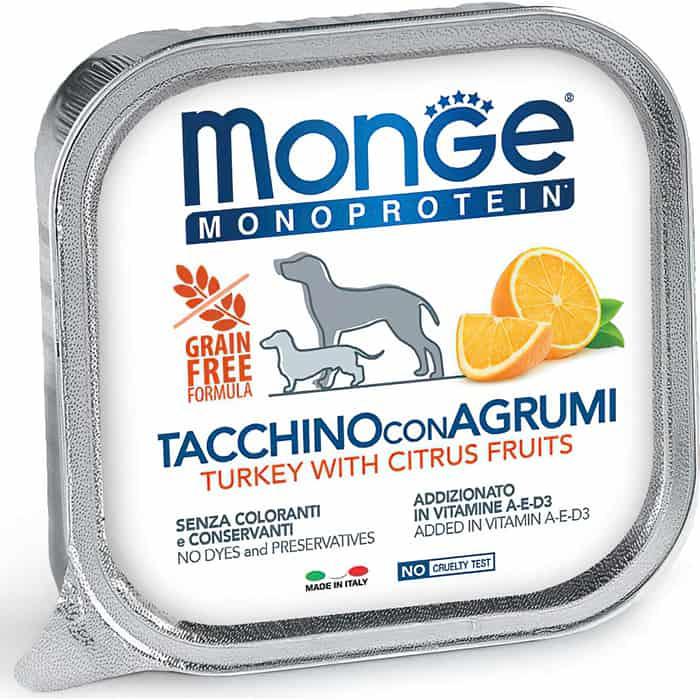 Консервы Monge Dog Monoprotein Fruits для собак паштет из индейки с цитрусовыми 150 г