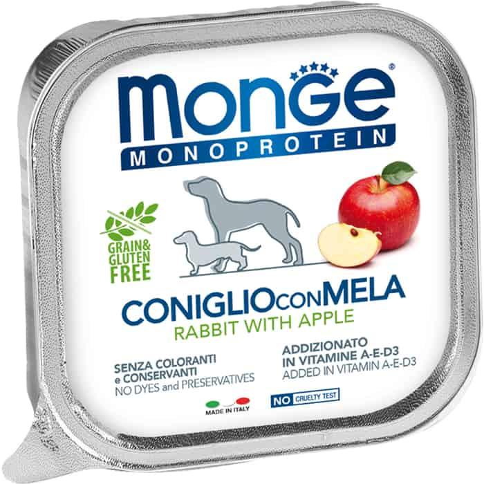 Консервы Monge Dog Monoprotein Fruits для собак паштет из кролика с яблоком 150 г