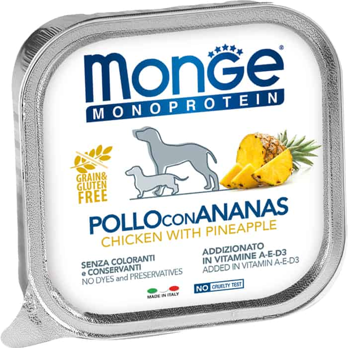 Консервы Monge Dog Monoprotein Fruits для собак паштет из курицы с ананасом 150 г