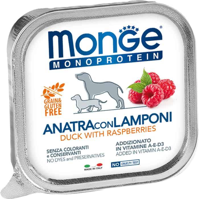 Консервы Monge Dog Monoprotein Fruits для собак паштет из утки с малиной 150 г
