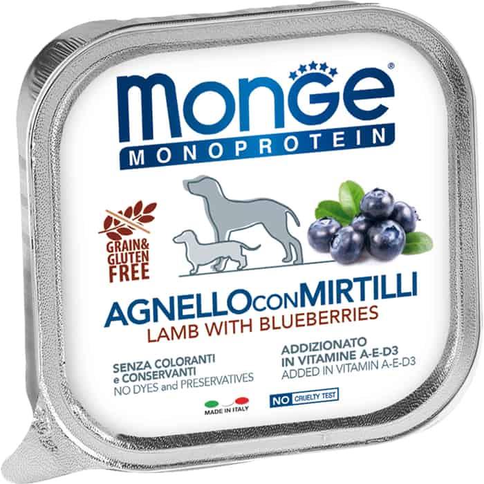 Консервы Monge Dog Monoprotein Fruits для собак паштет из ягненка с черникой 150 г