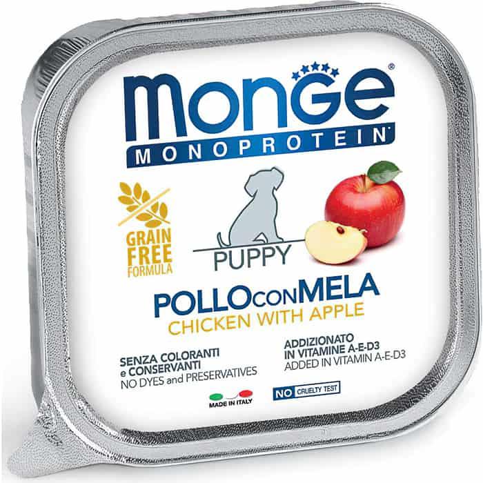 Консервы Monge Dog Monoprotein Fruits для щенков паштет из курицы с яблоком 150 г