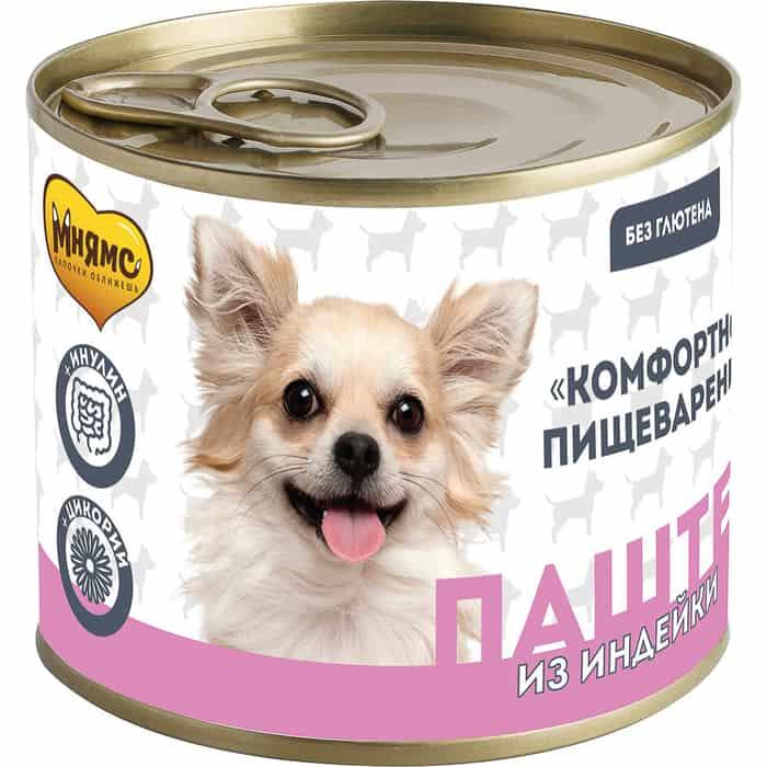 Консервы Мнямс паштет из индейки для собак всех пород КОМФОРТНОЕ ПИЩЕВАРЕНИЕ 200 г