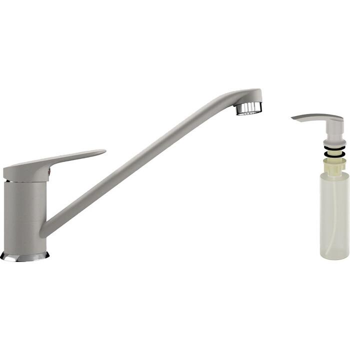 Смеситель для кухни Ulgran U-004 с дозатором жидкого мыла, белый (U-004-331, U-02-331)