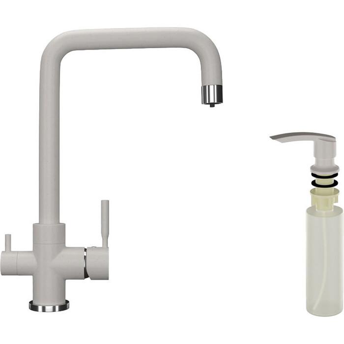 Смеситель для кухни Ulgran U-019 с дозатором жидкого мыла, белый (U-019-331, U-02-331)