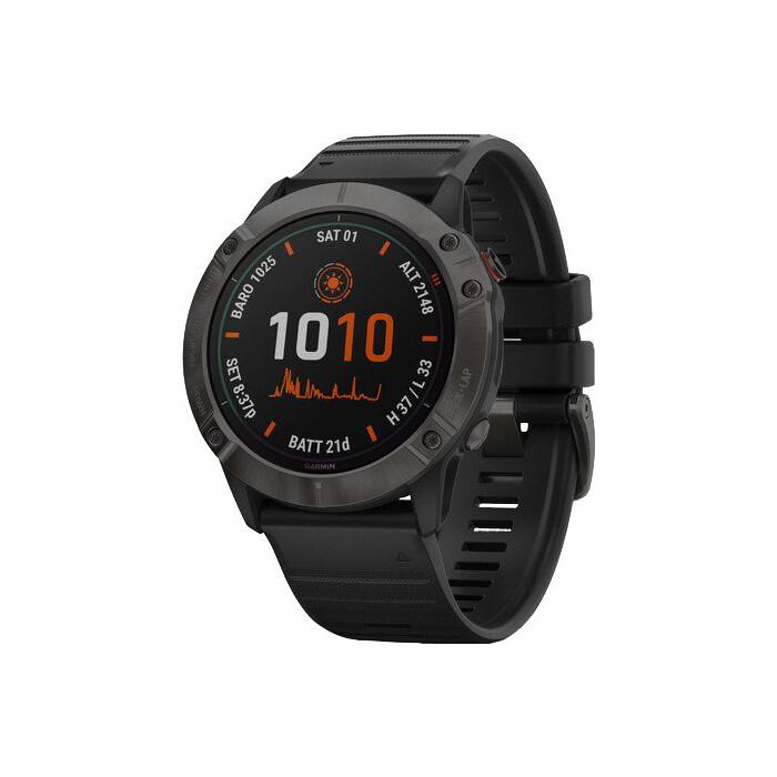 Часы Garmin fenix 6X Pro Solar,Ti, Carbon Gray DLC w/Black Band,GPS,EMEA (010-02157-21) умные часы garmin fenix 6x pro solar титановый с титановым браслетом серый