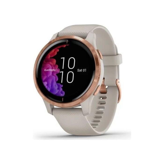 Часы Garmin Venu, GPS, Wi-Fi, Light Sand/Rose Gold, E.EU (010-02173-23)