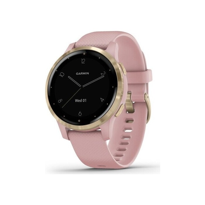 Часы Garmin vivoactive 4S, GPS, Wi-Fi, Dust Rose/Light Gold, E.EU (010-02172-33)