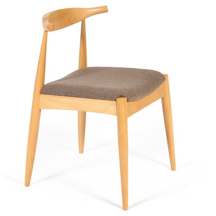 Стул TetChair Bull мягкое сидение/каркас бук, сиденье ткань натуральный + коричневый