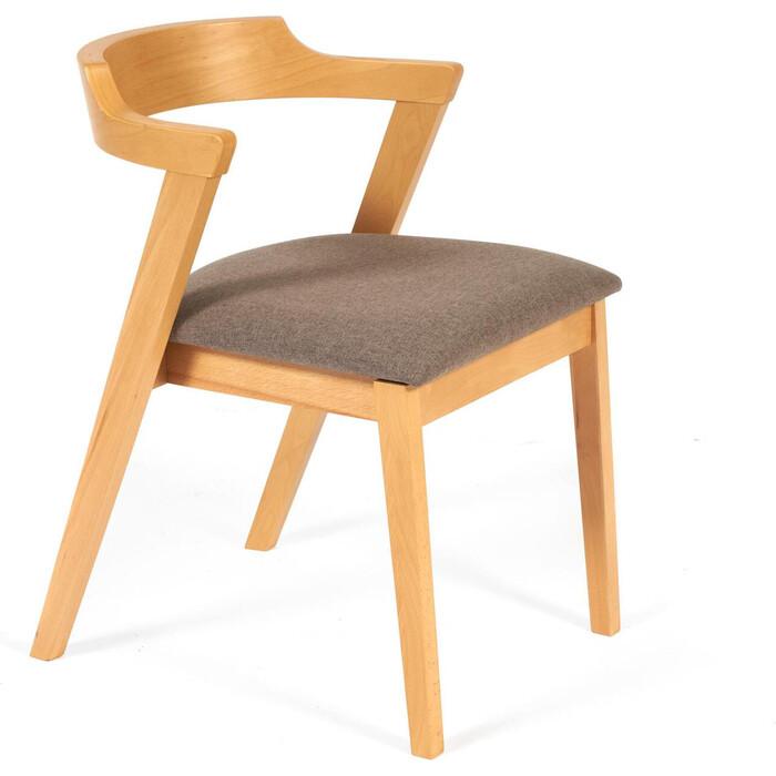 Стул TetChair Versa (Верса) мягкое сидение/каркас бук, сиденье ткань натуральный + коричневый